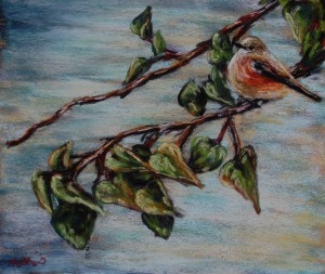 The Little Bird Hope, 8x10 pastel on card