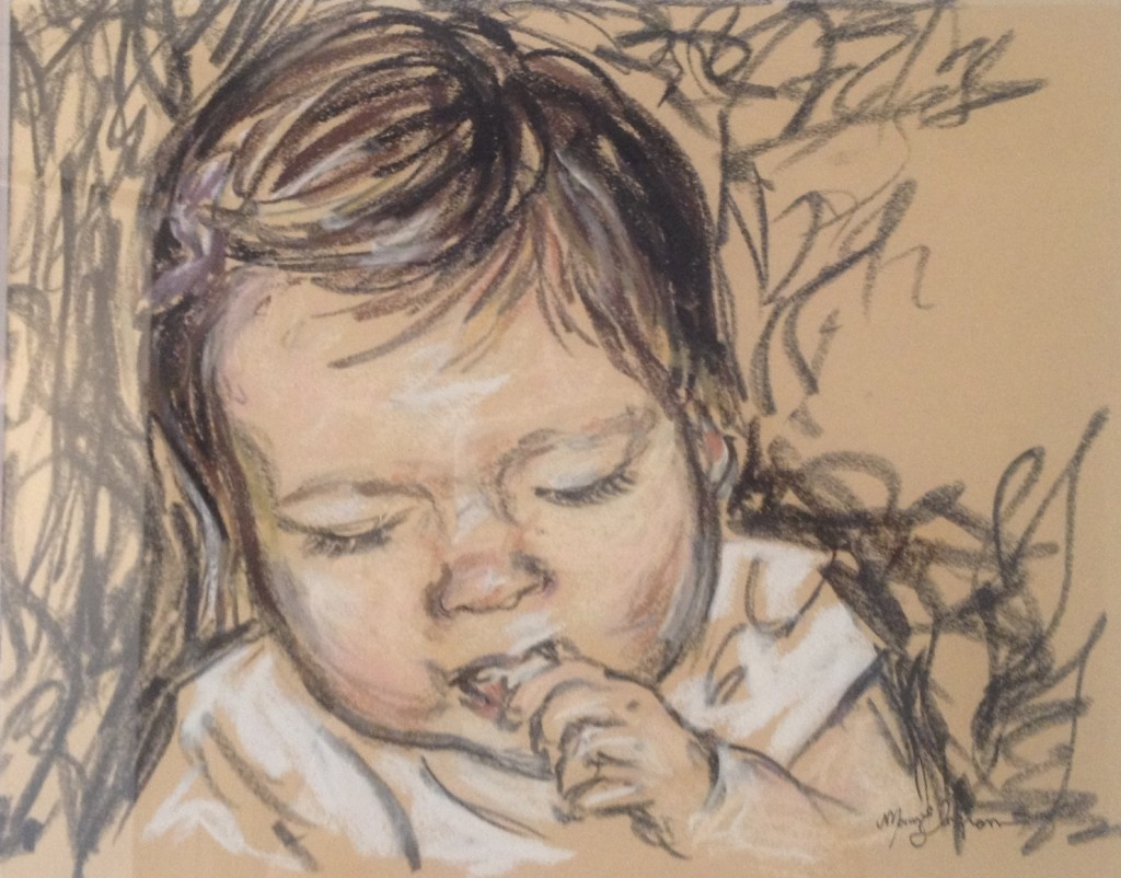 Snack Time, 8x10 pastel on newsprint