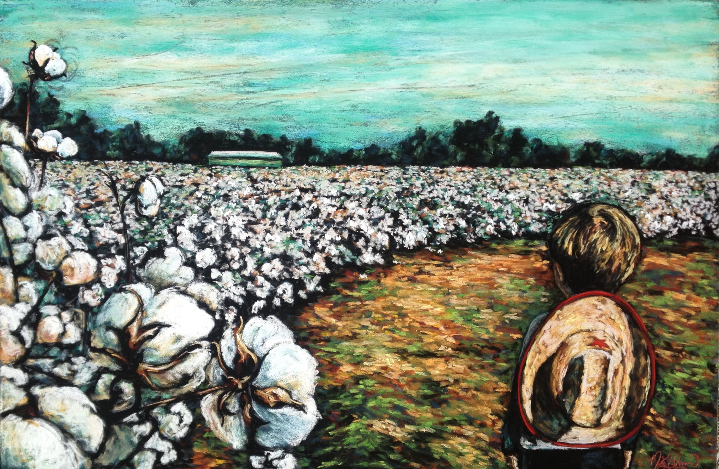 "Cotton Whispers, 24x36"" soft pastel on board"