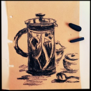 Morning Coffee, quick charcoal sketch