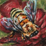 Busy Bee, 3x3 pastel on card