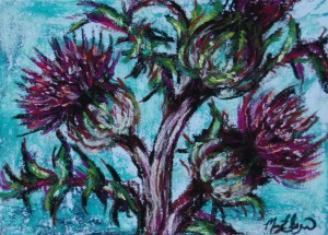Thistle, 5x7 pastel on card