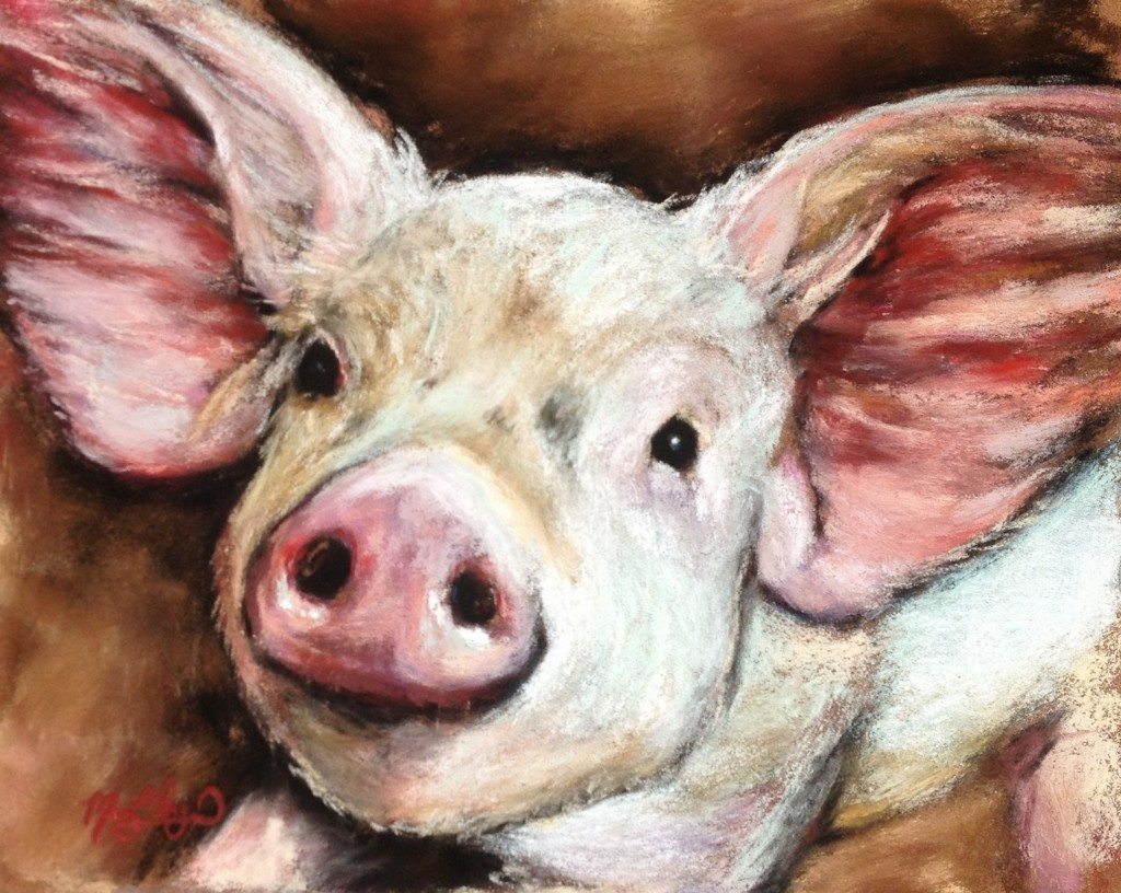 """Oink,"" 8x10 soft pastel on card, sold"