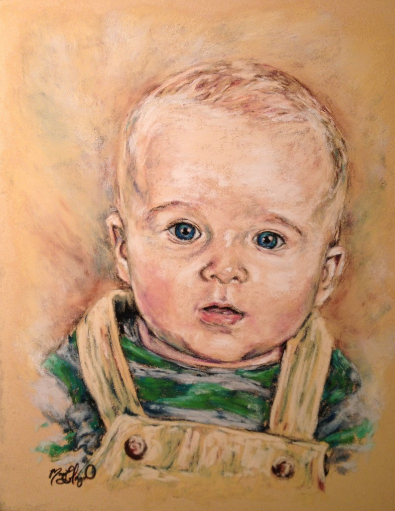 Baby Boy, 11x14 pastel on card