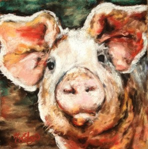 """This Little Piggy,"" 8x8 soft pastel"