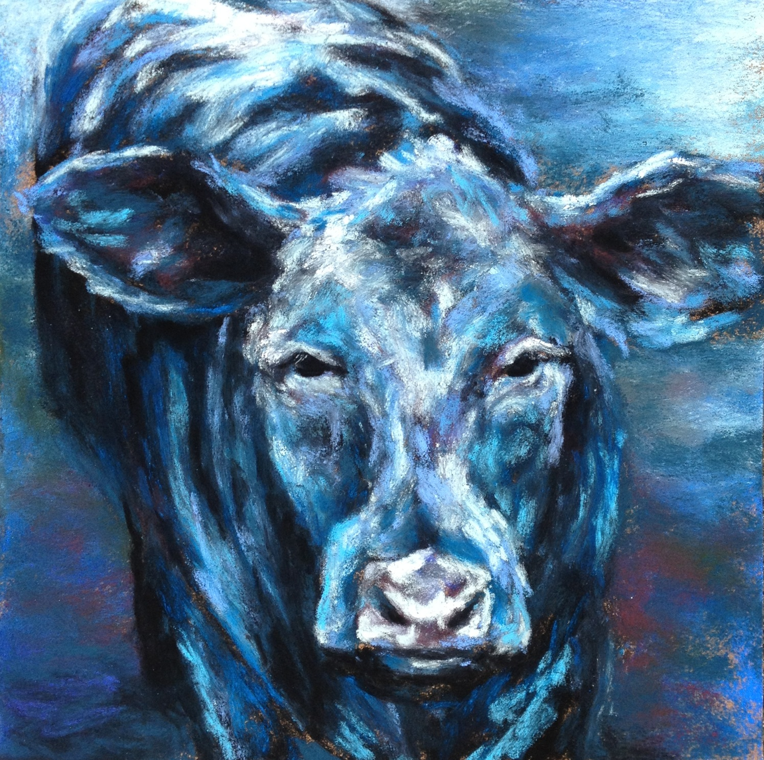 Big Blue, 8x8 pastel on card