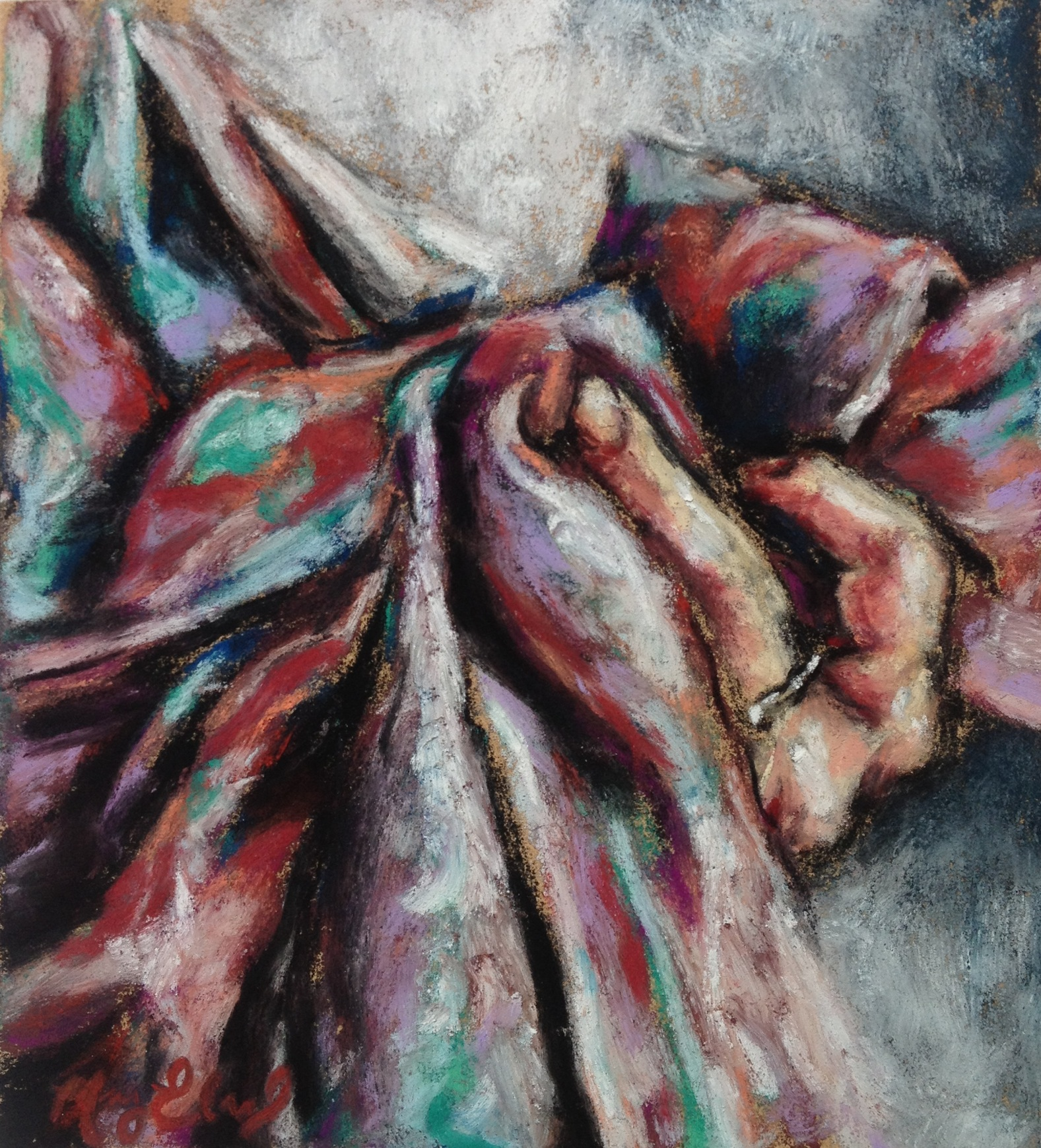 The Scarf, 3x4 pastel on card