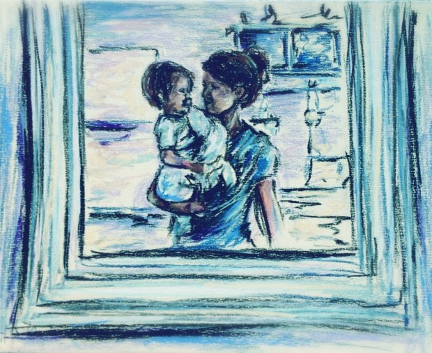 The Mirror, pastel sketch on card