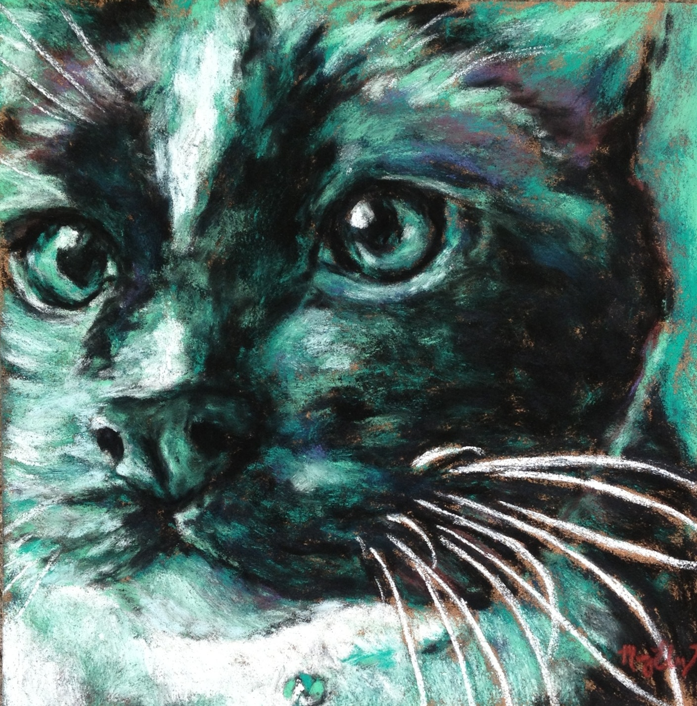 Nosy Neighbor, 8x8 pastel on card