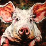 Mr. Pig, 8x8 pastel on card