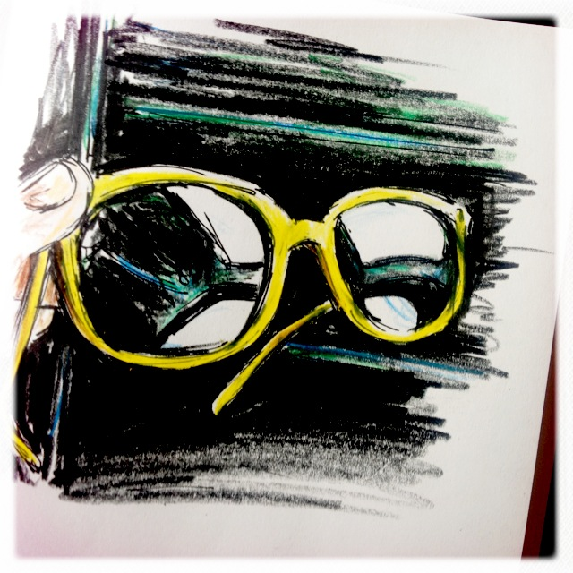 Yellow Sunglasses, Ink & Colored Pencil Doodle