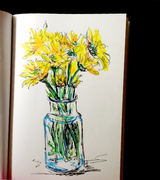 Yellow Flowers, ink & colored pencil doodle