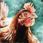 Hen, 8x8 pastel on card