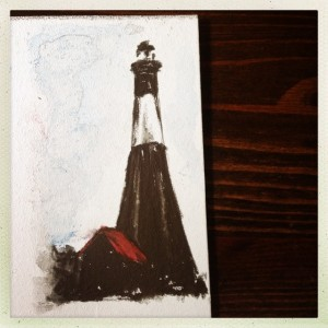 Tybee Island Lighthouse, 2x4 watercolor pencil