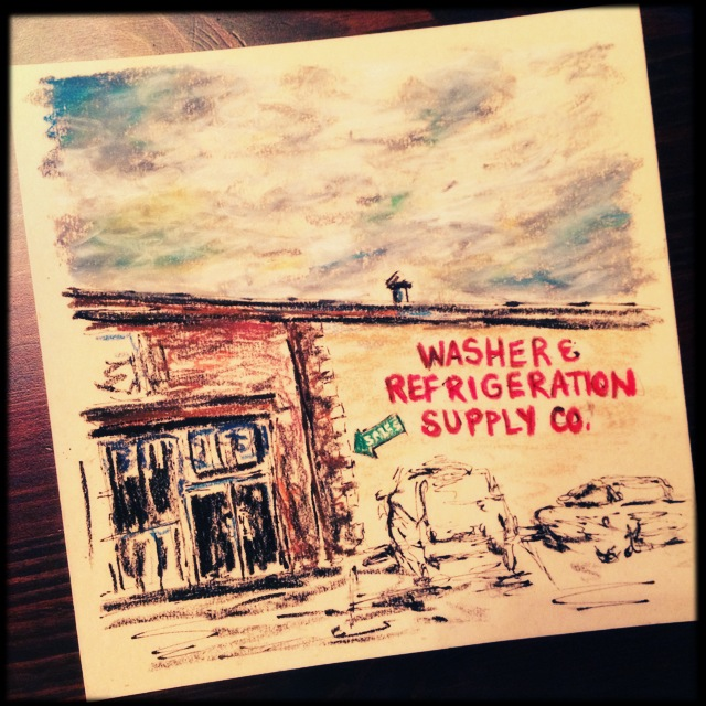 Washer & Refrigeration, 7x7 ink, colored pencil & pastel pencil on card