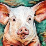 Petunia, 8x8 pastel on card, $135 framed