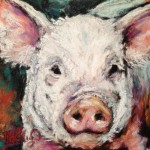 Piglet, 4x4 pastel on card, $69 in matte & frame