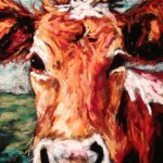 Cow, 5x7 pastel on card