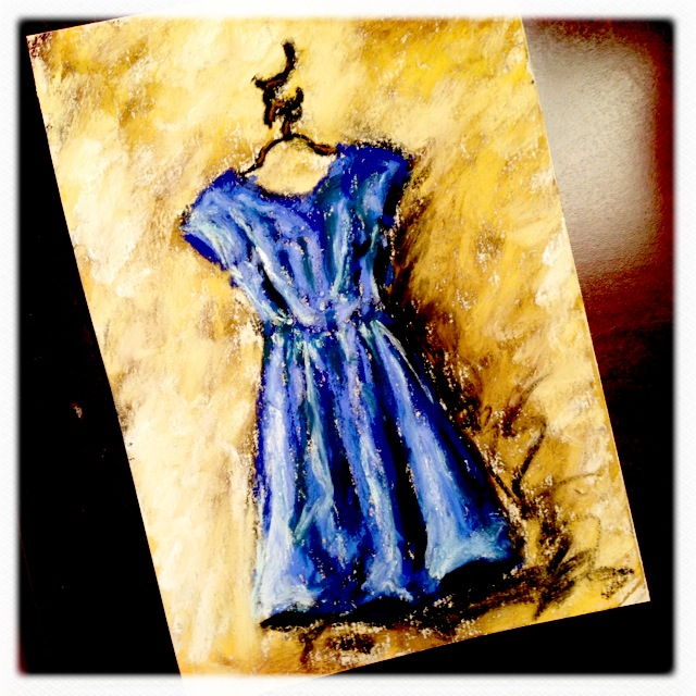 Blue Dress, pastel on card