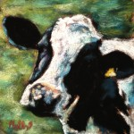 Mini Moo 4x4 pastel on card