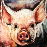 Little Pig 4x4 pastel on card