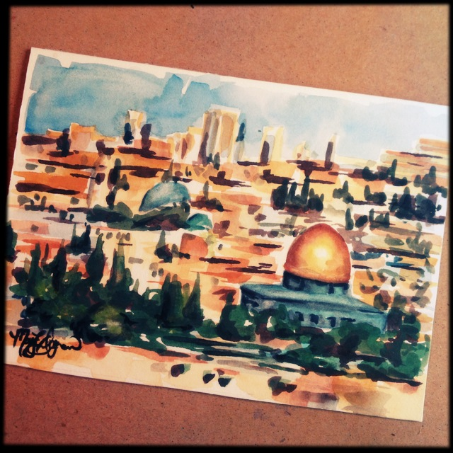 Jerusalem, 5x7 watercolor commission