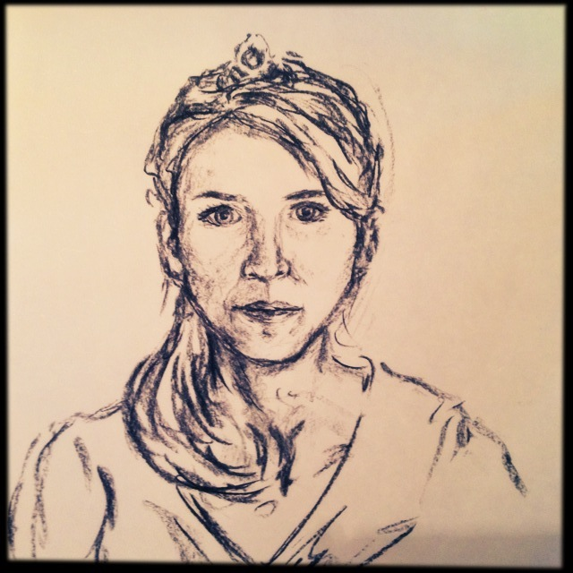 Tired Tiara, charcoal sketch