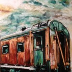 Old Rusty Train, 8x10 pastel framed $200