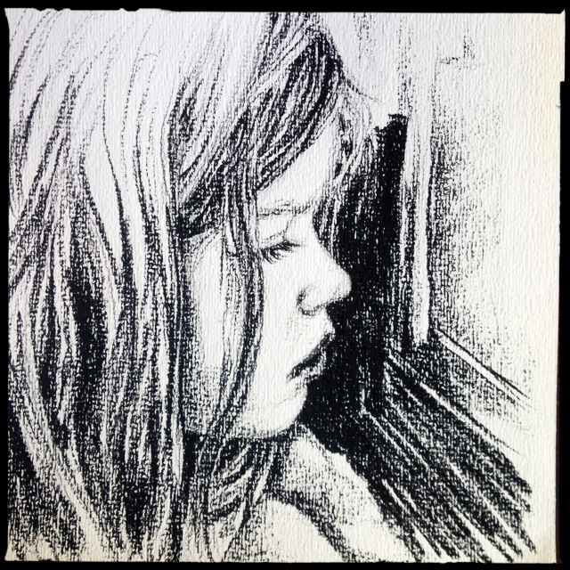 Daughter, charcoal sketch