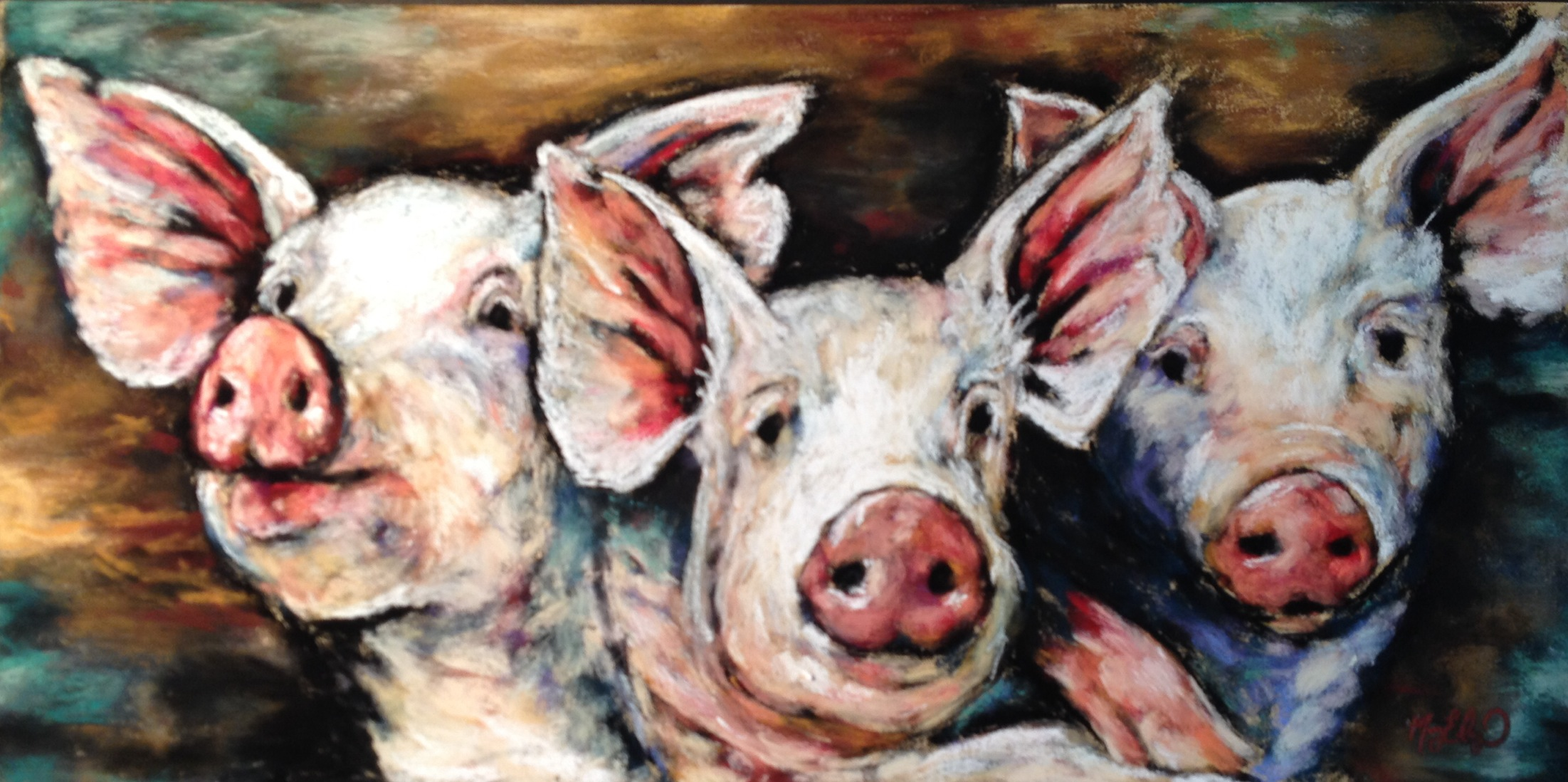 3 Little Pigs, 10x20 pastel
