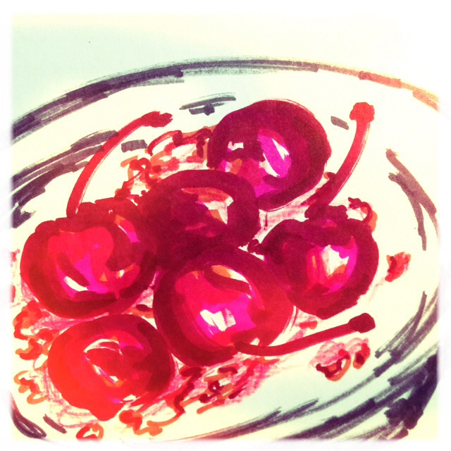 Bowl of Cherries, marker