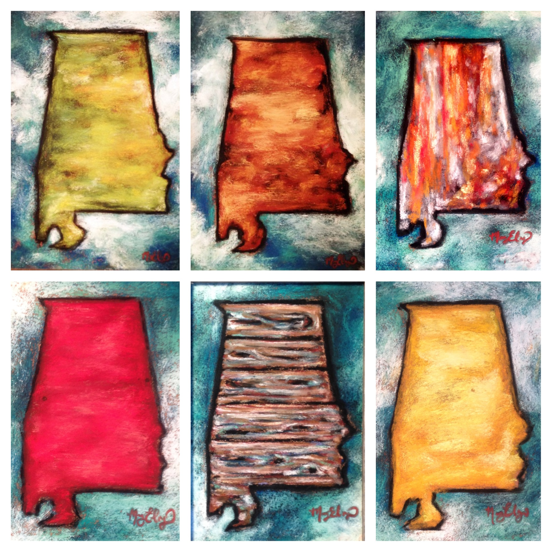 Colors of the South, each 5x7 pastel