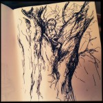 Tree Climber, ink doodle