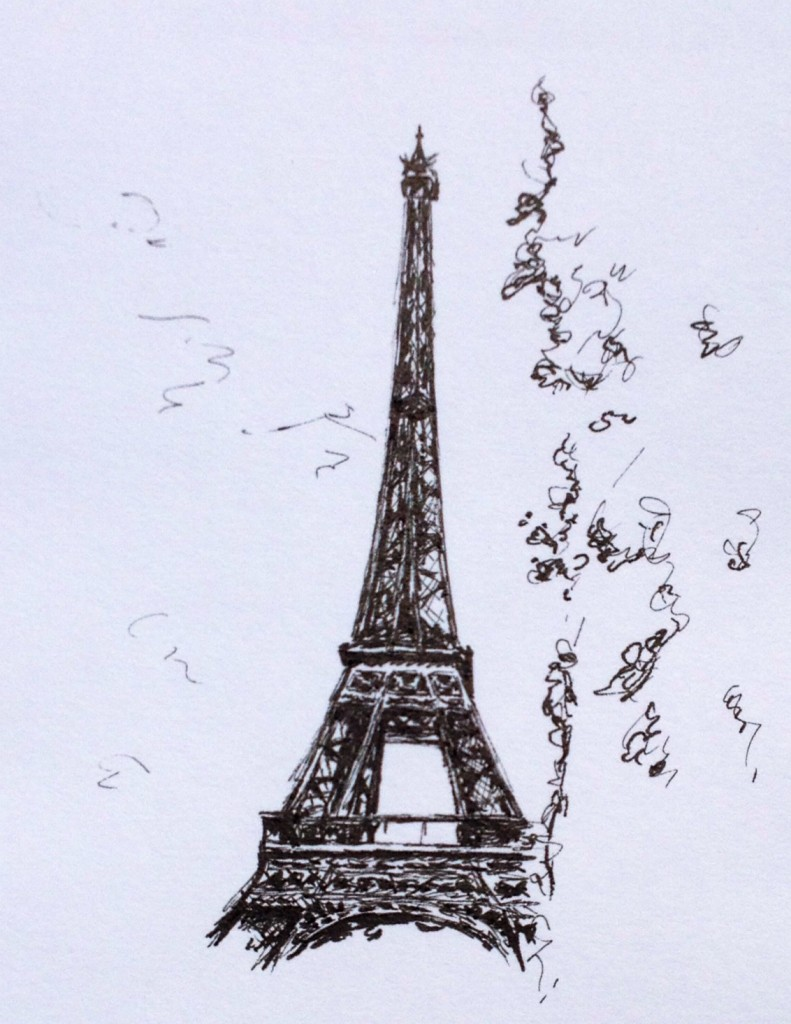 Eiffel Tower, ink doodle