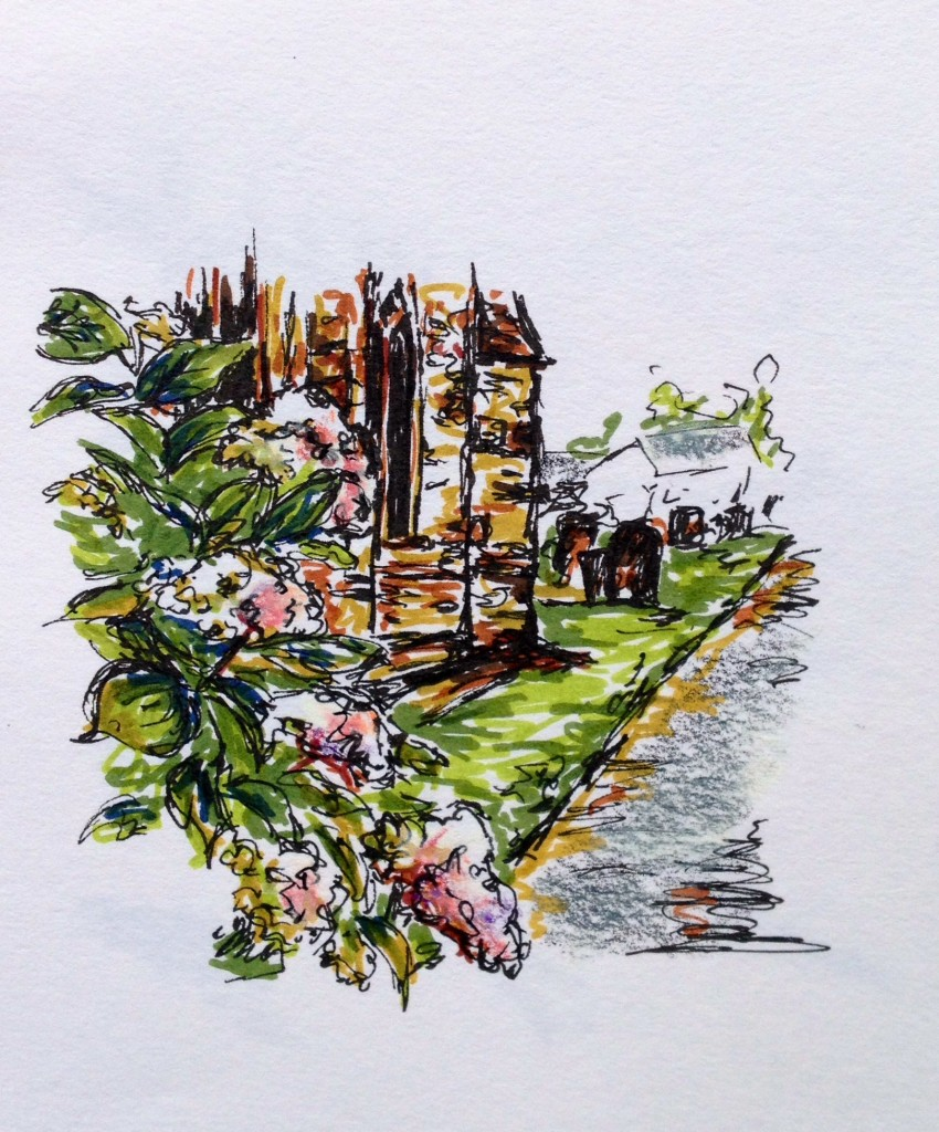 St. Mary's Church in Lutterworth, England, marker & ink doodle
