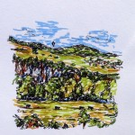 View from Willersley Castle, marker & ink doodle