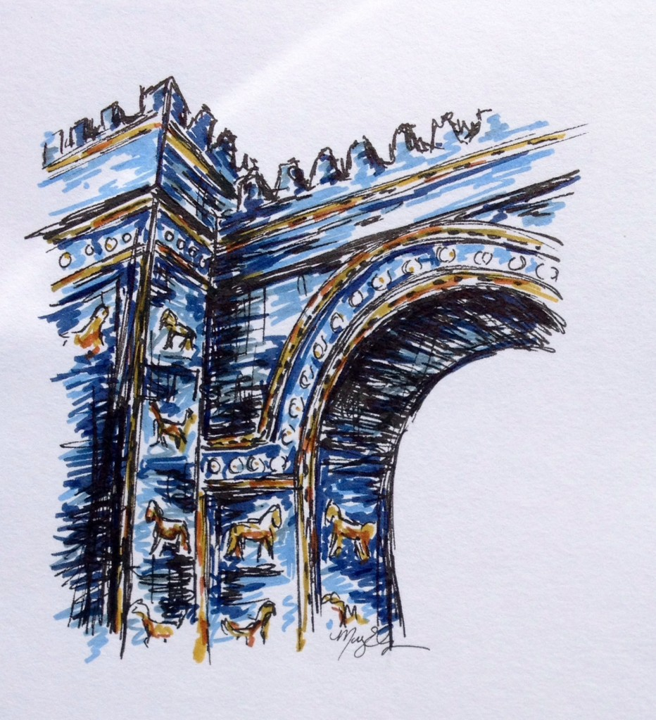 Ishtar Gate at the Pergamon Museum, marker & ink doodle