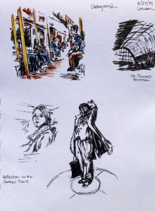 Traveling from St. Pancras Station, London: marker, colored pencil & ink doodle