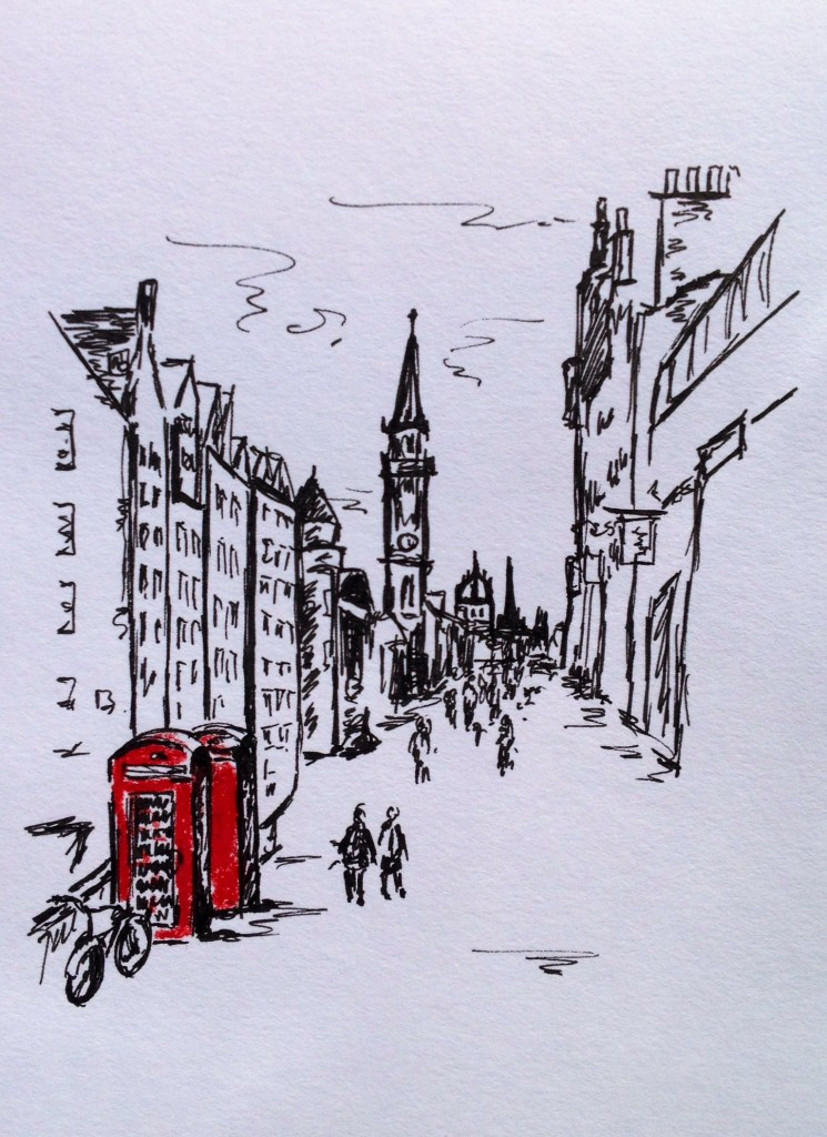 Edinburgh, colored pencil & ink doodle