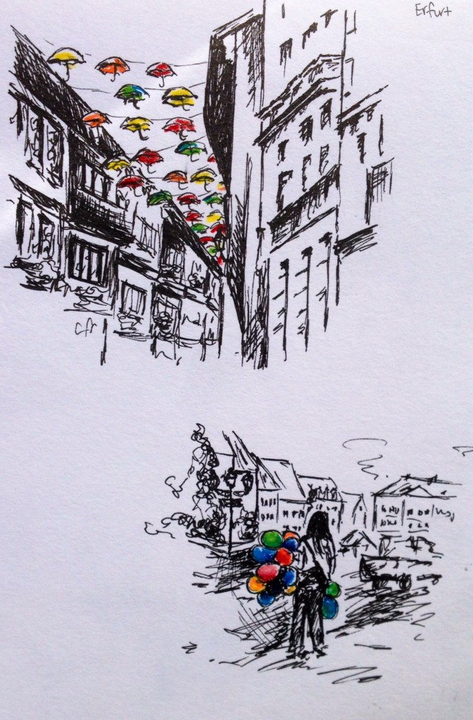 Erfurt & Eisleben, Germany: colored pencil & ink doodles