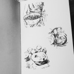 Muffin Doodles, ink sketches
