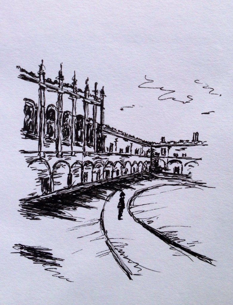 Christ Church, Oxford, ink doodle