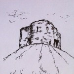 Clifford's Tower, York, ink doodle