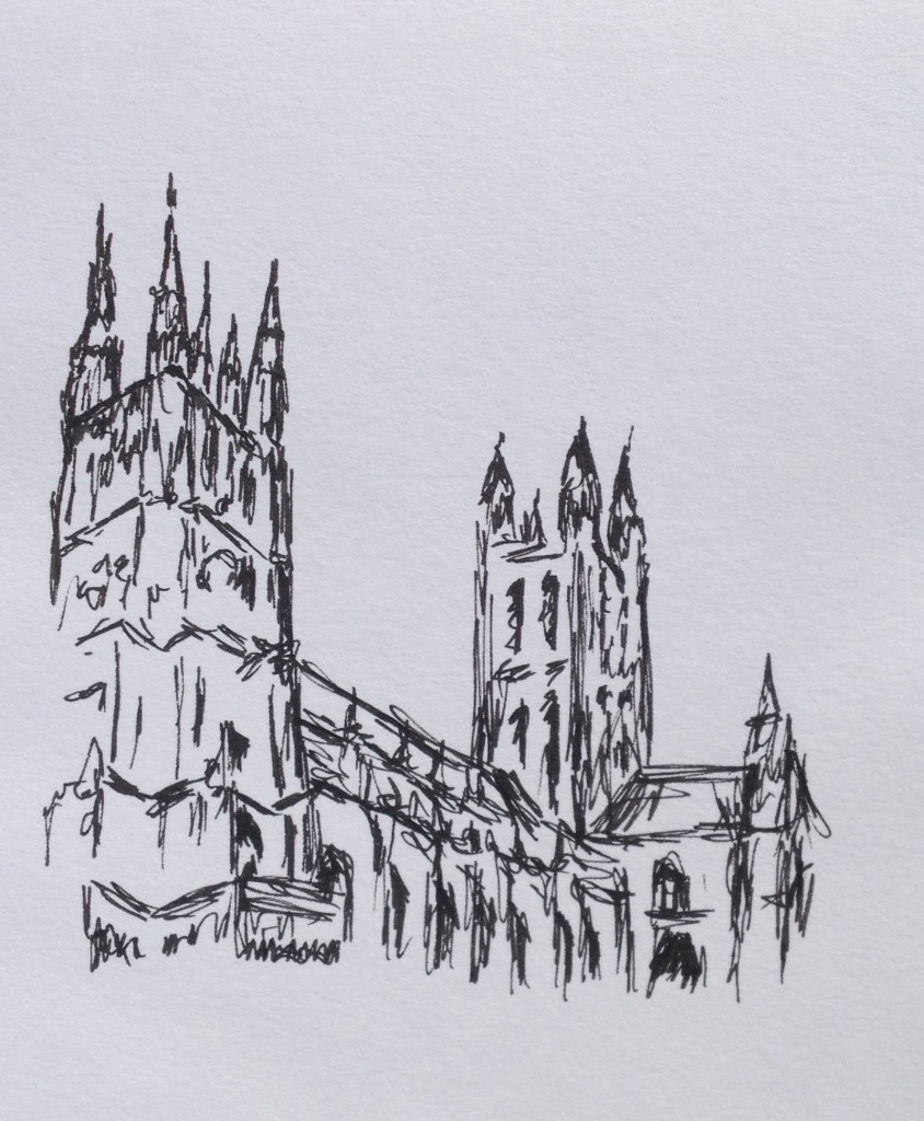 Canterbury Cathedral, ink doodle