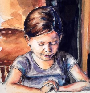 Dominoes, detail, watercolor