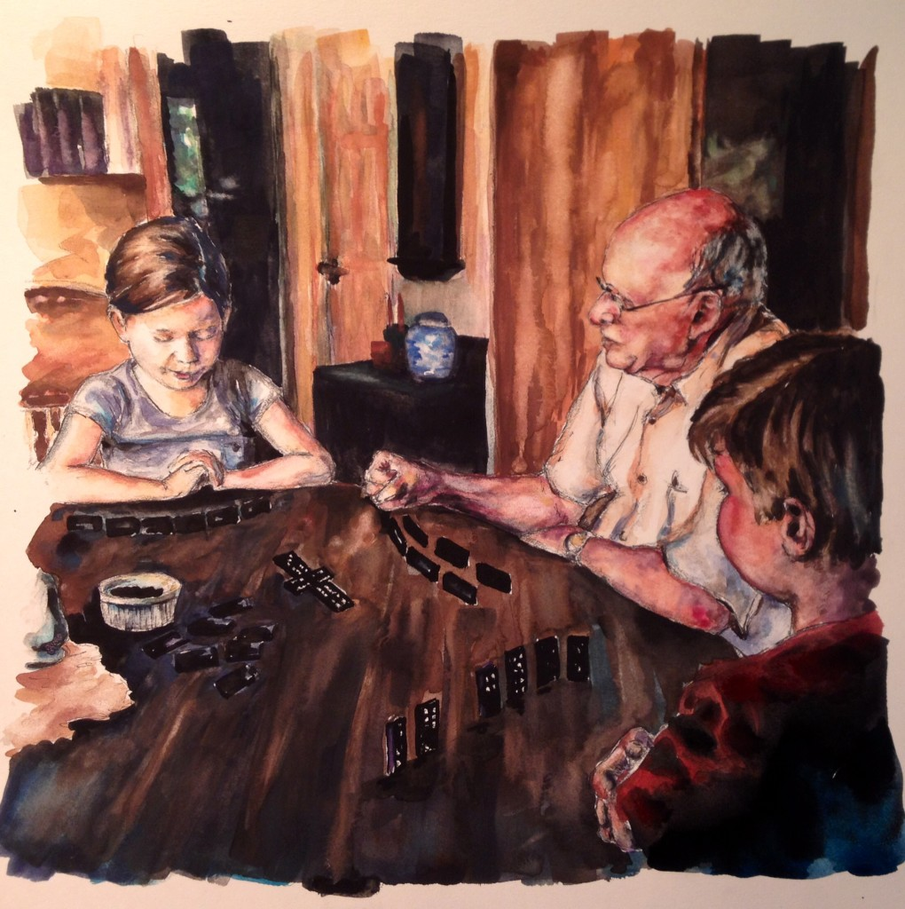 Dominoes, 12x12 watercolor