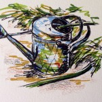 Watering Can & Rain Barrel, ink & marker doodle