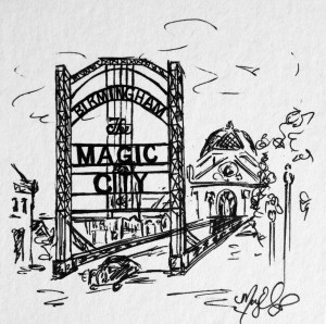 Magic City, 4x4 ink doodle, $25