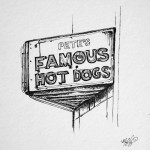 Pete's Hot Dogs, 8x8 ink doodle $45