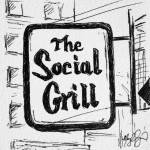 Social Grill, 4x4 ink doodle, $25